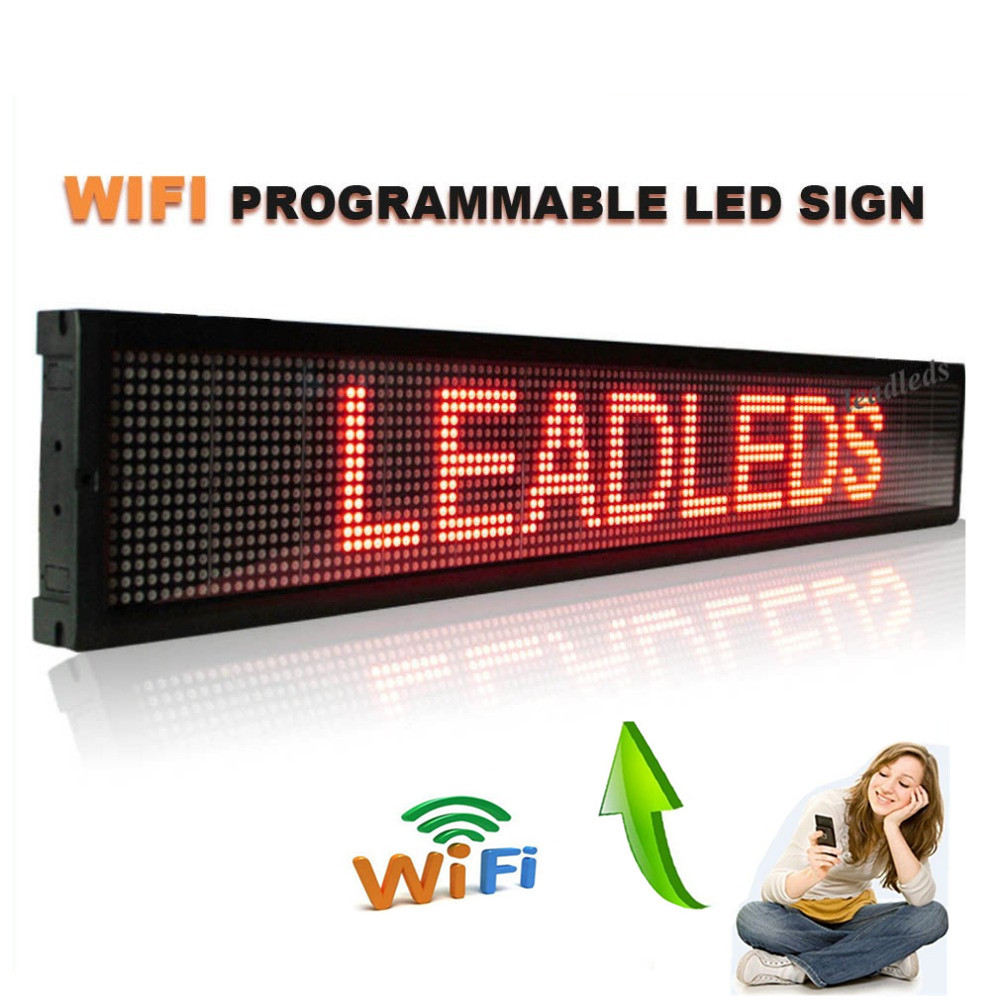 49x6.3 Inches Wifi Remote Programmable LED Scrolling Message Sign Board For Shops, Cars And Buses Advertising