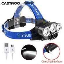 CASTNOO USB Перезаряжаемые 5X T6 светодиодный фар 12000 люмен 18650 Батарея охотничий фонарь для кемпинга, охоты, ежедневное использование A391