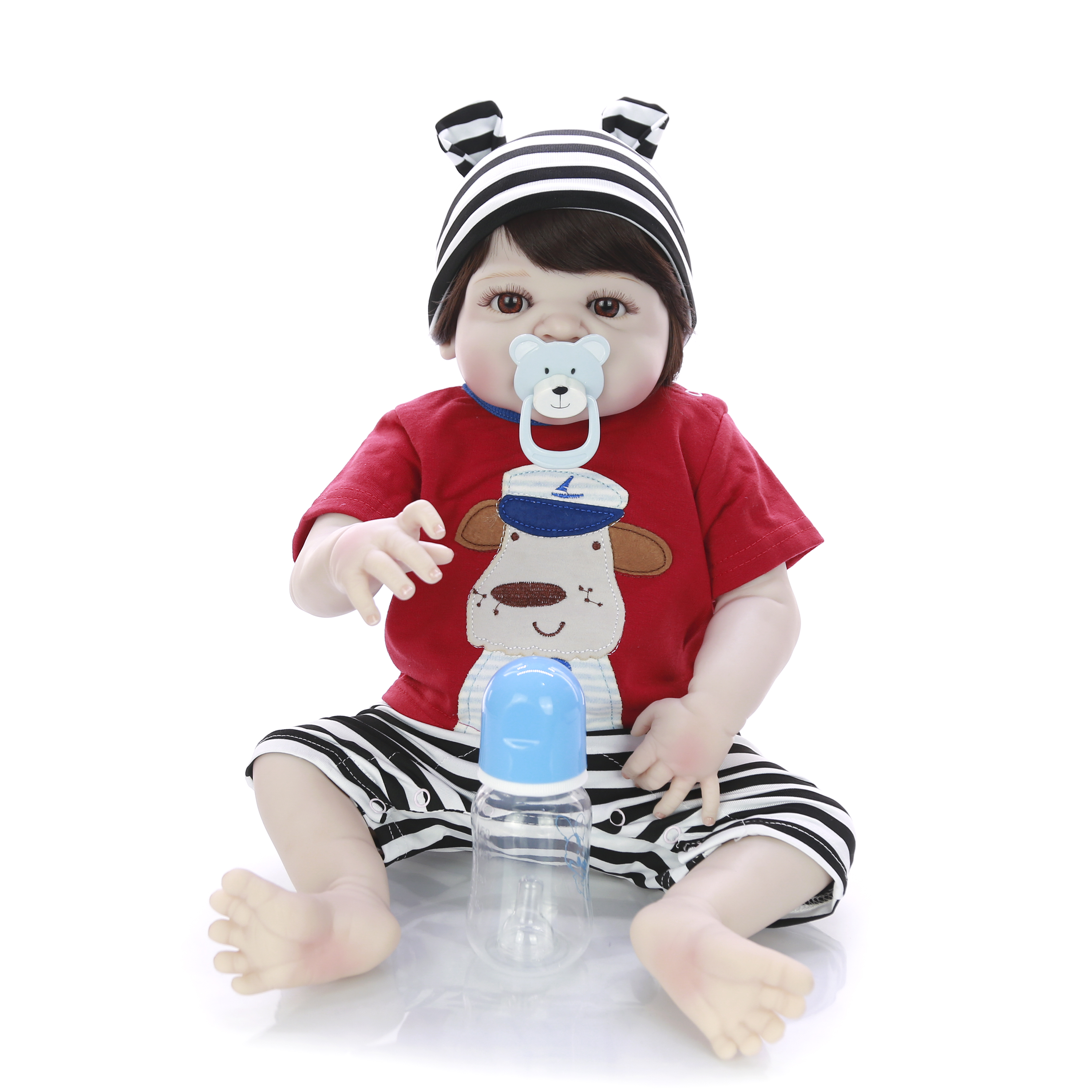 Fashion Reborn Baby Dolls Full Vinyl Body 23'' Realistic Silicone Boneca Reborns Hot Sale Baby Boy Toys Newborn Dolls For Gifts-in Dolls from Toys & Hobbies    3
