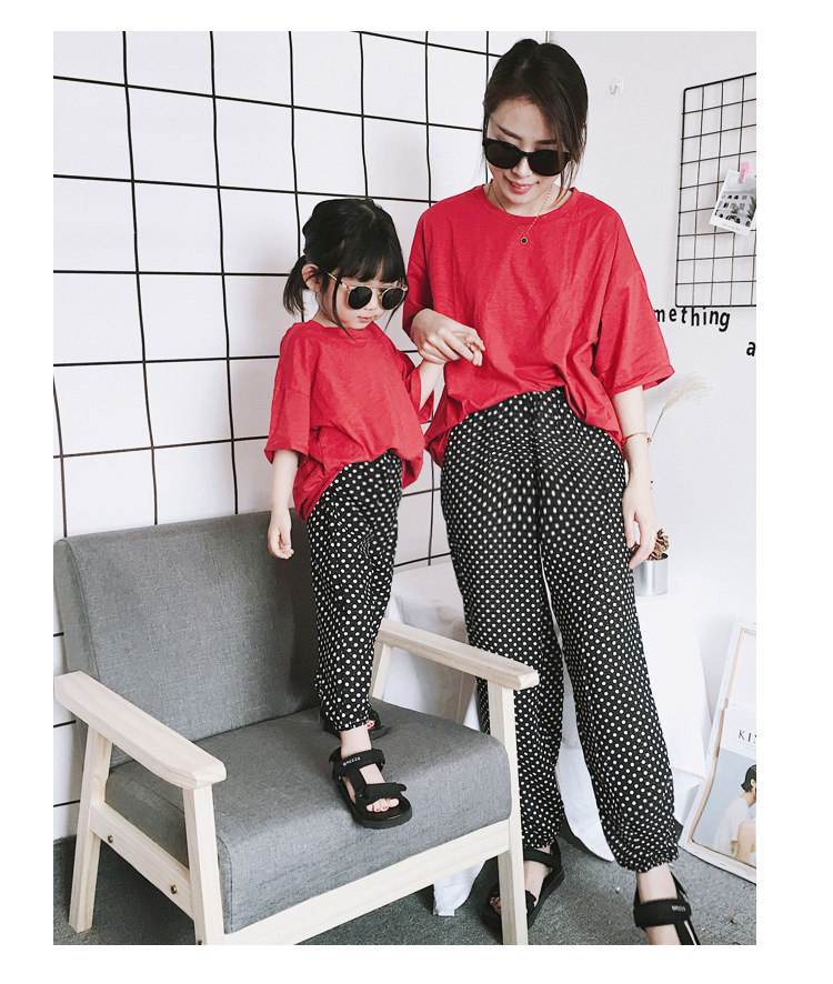 Mother Daughter Clothes 2018 New Summer Baby Girl Lantern Pants Family Look Kids Dot Printed Casual Trousers Pant Mosquito Pants 12
