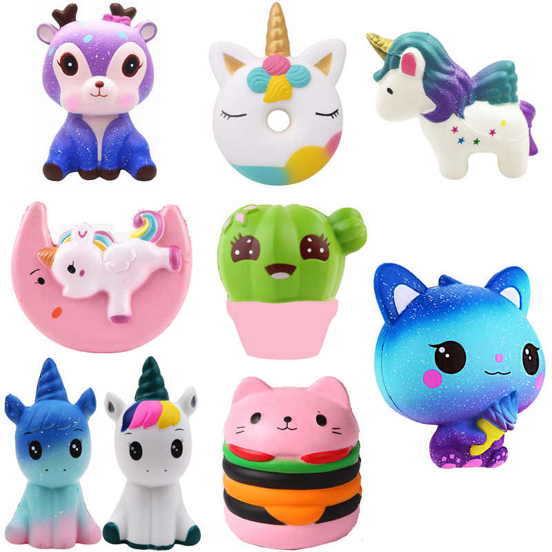 PU Unicorn bear Animals Squishy jumbo cute Slow Rising Kawaii Squish Toy for Kids anti Stress Reliever Decompression Squeeze toy