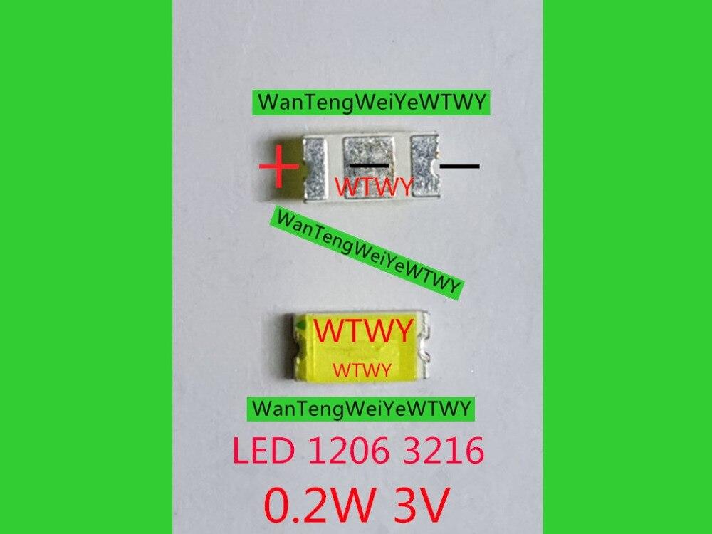 1000pcs Original LED 1206 3216 Light Beads Cool white High Power 0 2W 3V For LED