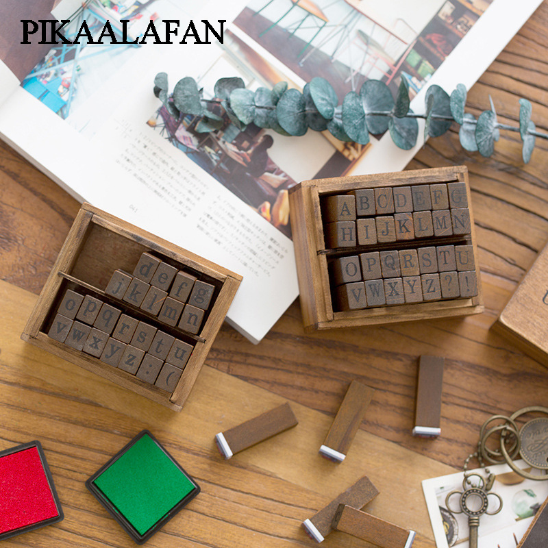 PIKAALAFAN Vintage Wooden Alphabet Stamp  Hand Write Capital Lowercase Retro Craft Box Rubber Wedding Stamp Toy Set 28pcs