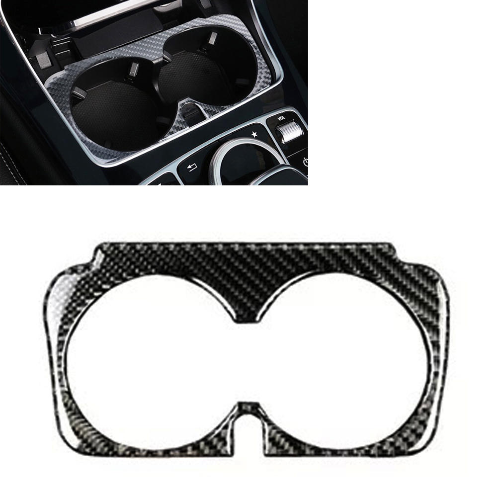 JEAZEA Car Styling Carbon Fiber Water Cup Holder Frame Trim Sticker For <font><b>Mercedes</b></font> Benz C Class W205 C180 C200 <font><b>C300</b></font> GLC 15-17 image