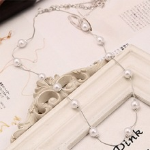 Korea many pearl necklace small pure and fresh sweater chain joker girl
