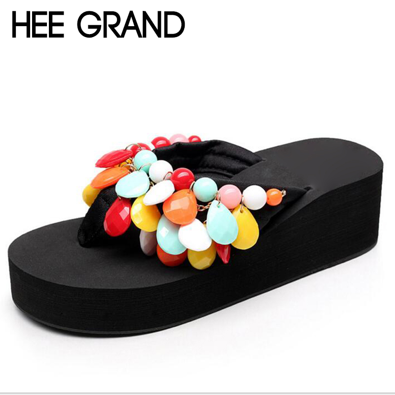 HEE GRAND Woman String Bead Slippers Wedges Flip Flops Summer Colorful  Shoes Light Beach Slides Women's Girl's Footwear XWT728 hee grand 2017 crystal flip flops casual summer slides beach slip on flats platform bling jelly shoes woman slippers xwz4438