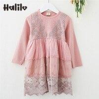 Halilo Girl Dresses Long Sleeve Robe Enfant Lace Girls Costumes For Halloween Children Clothing Princess Kids