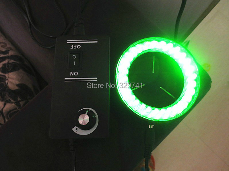 60LED Green Light Ring Lamps Microscope Light Stereo Biological Zoom Video Microscope Illuminated Accessory 110-240V blue light 60 led lamps stereo biological zoom microscope led circular ring microscopy lighting with adapter 220v or 110v