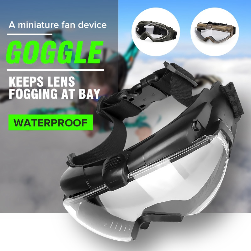 Tactical Military Airsoft Safety Eye Protection Glasses Eyewear Anti-fog Dust Regulator Goggle With Fan