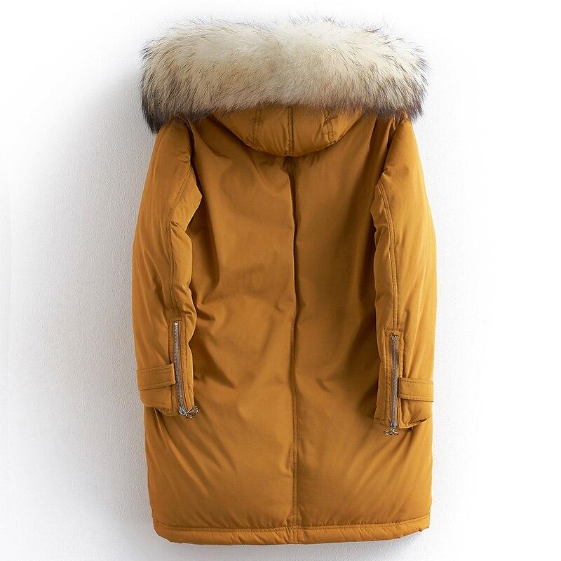 Orange Garniture Raton Mode 80902d Manteau De Longue Le Npi Naturel Épais Hiver Chaud Capot Bas Laveur Femmes Vers Conception Lâche Fourrure Rw7H6xvqx