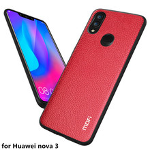 MOFi מקרה טלפון עבור Huawei נובה 3 חזרה כיסוי עבור נובה 3 מקרה מקורי עור מפוצל דיור עבור Nova3 עמיד הלם Coque קאפה מחשב TPU