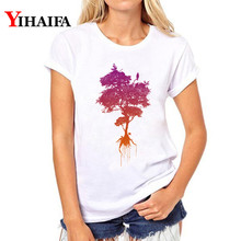 T shirt Women Fashion Gradient Color Tree 3D Print Shirt Lady Short Sleeve White T-shirts Simple Tops woman clothes