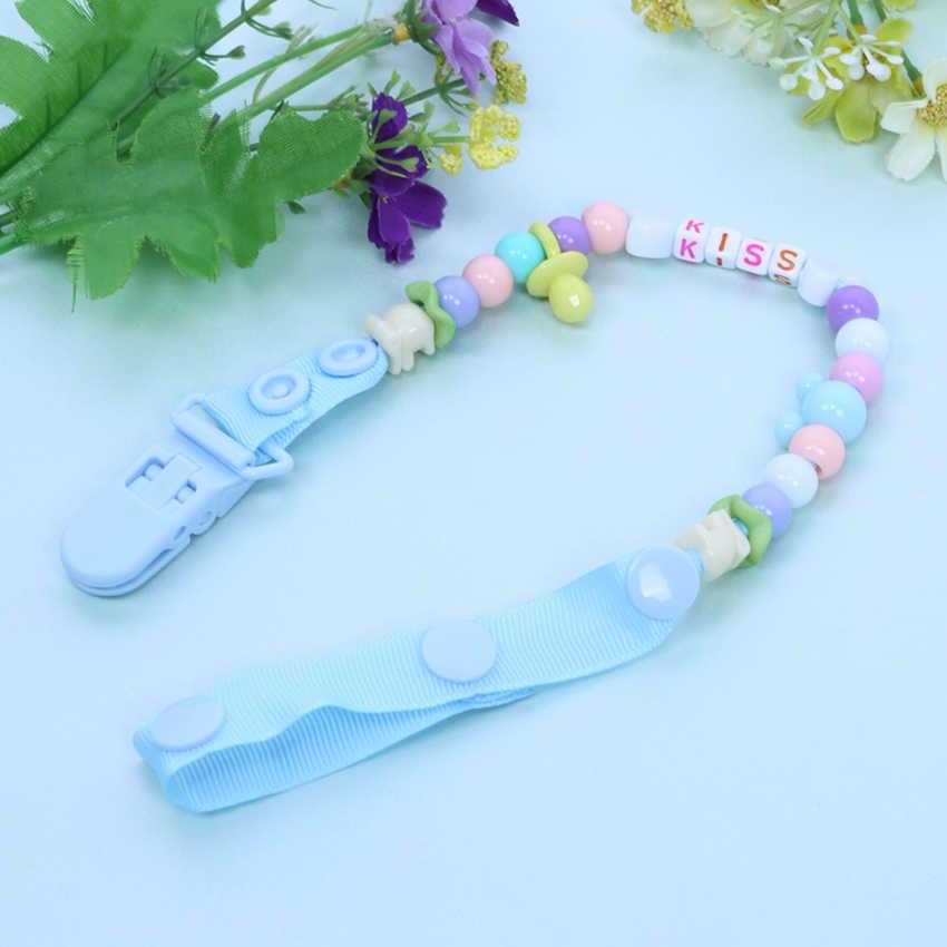 Nouveau-né bébé sucette Clips mamelon chaîne fait à la main coloré mignon lettre perles factice Clip bébé enfants Soother mamelon jouets titulaire