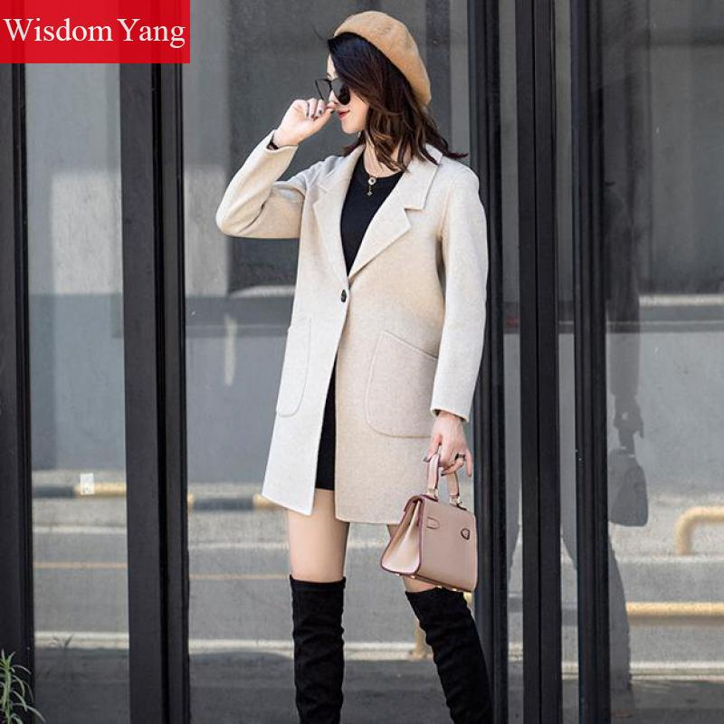 Cachemire Mouton Élégant Beige De 2018 Slim Manteaux Manteau Survêtement Décontracté Dames Femme Hiver Bouton Pardessus Tranchée Laine Femmes Coat 7HgqxHS