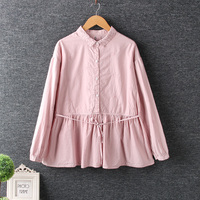 Small fresh solid color embroidery cotton doll shirt top 2018 autumn New mori girl