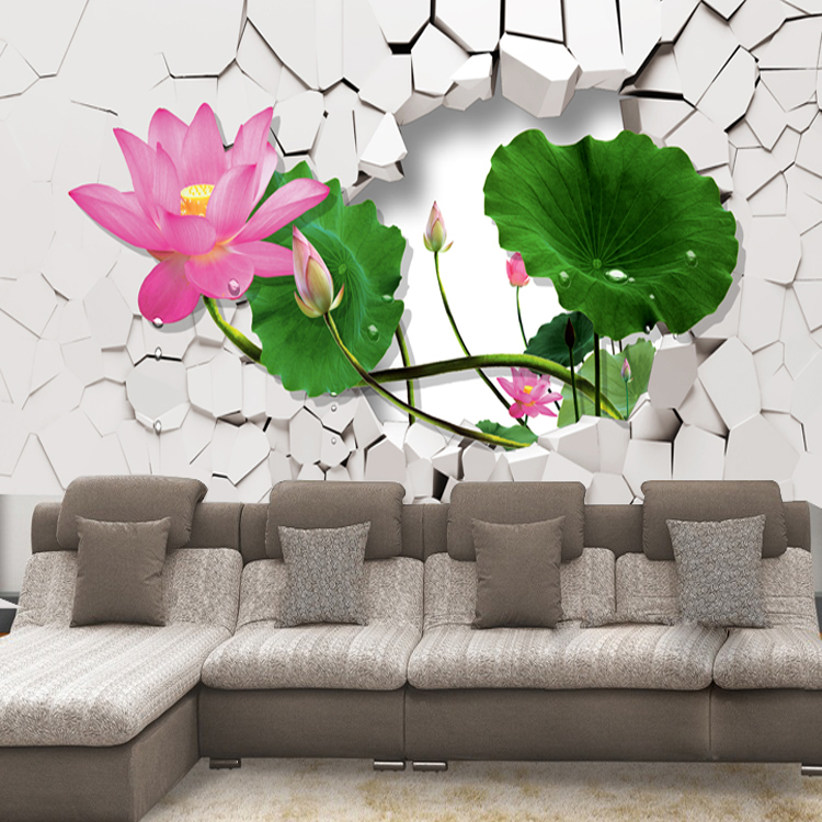 Custom 3d stereoscopic large mural wallpaper TV wall backdrop wallpaper non-woven fabric wall paper modern Chinese lotus brooklyn black and white wallpaper mural photo wallpaper 3d mural large wall painting mural backdrop stereoscopic wallpaper