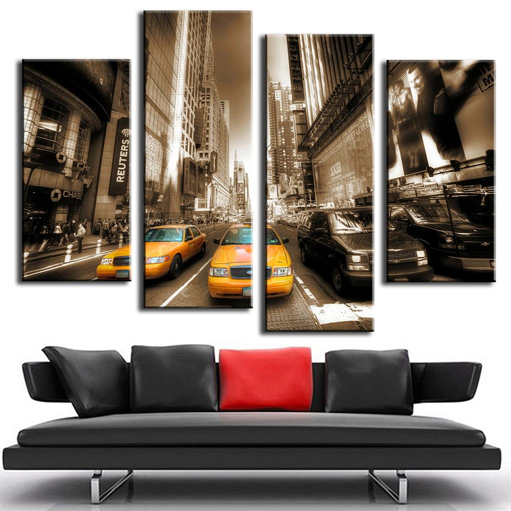 4 PcsSet Modern Wall Painting Yellow Taxis Sepia Combined Paintings Canvas Wall Art Picture Unframed Canvas Painting,