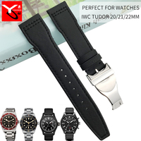 21mm 22mm Nylon Italia Leather Watch Strap New Style Folding Buckle Sport Watchbnad Suitable for Tudor Series Watch Accessories