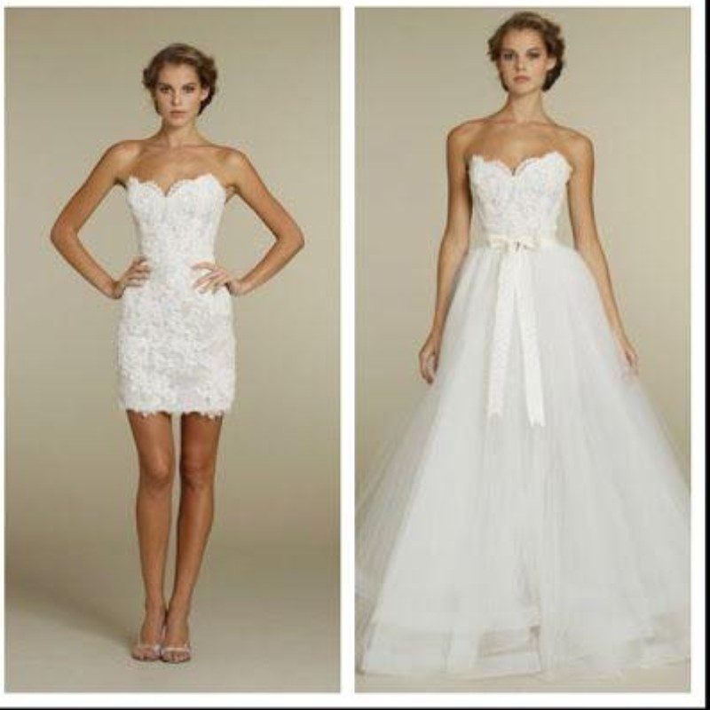 Two Piece Wedding Dresses Removable Tulle Skirt Sweetheart ...