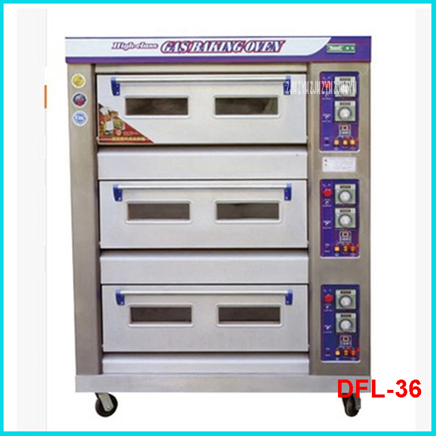 DFL-36 3layers 6 trays Stainless steel 60kg/h oven machine 380V Commercial Electric bread toaster food oven pizza baker machine цена и фото