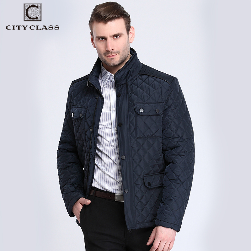 CITY CLASS 2017 Mens Quilted Jacket Multi Packets Causal Bussiness Style Stand Collar Pilot Jackets and