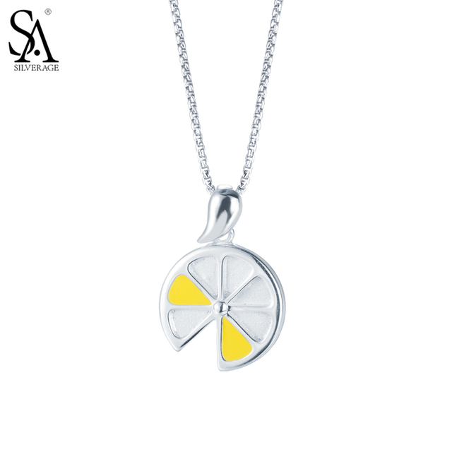 Sa silverage real 925 sterling silver necklaces pendants for women sa silverage real 925 sterling silver necklaces pendants for women fine jewelry yellow lemon 2017 new aloadofball Choice Image