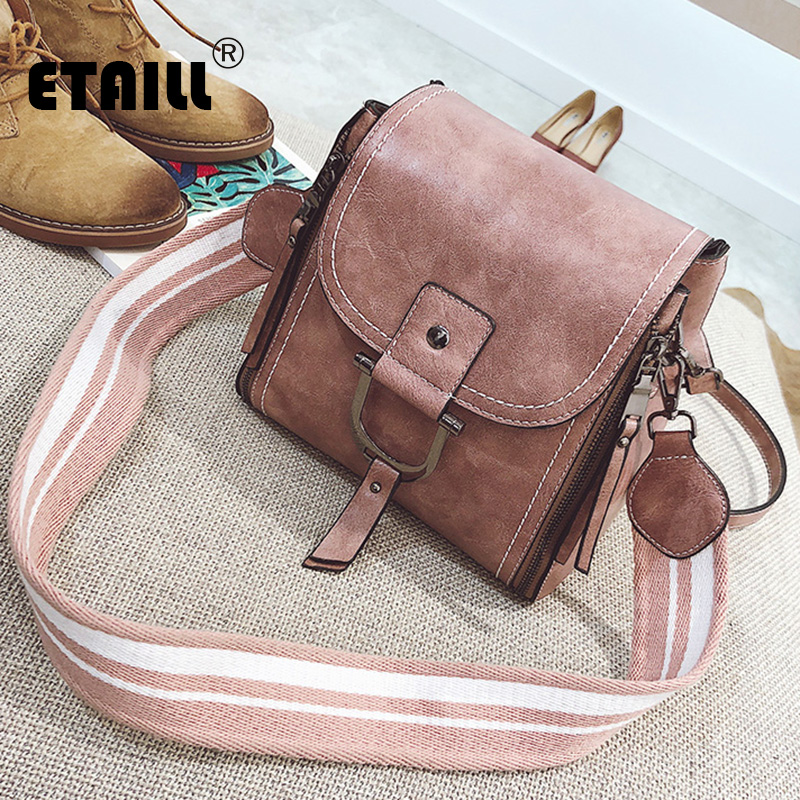 ETAILL European and American Fashion Small Square Bag Womens Handbags Shoulder Bag with Stripe Wide Strap Crossbody Bag for Gir