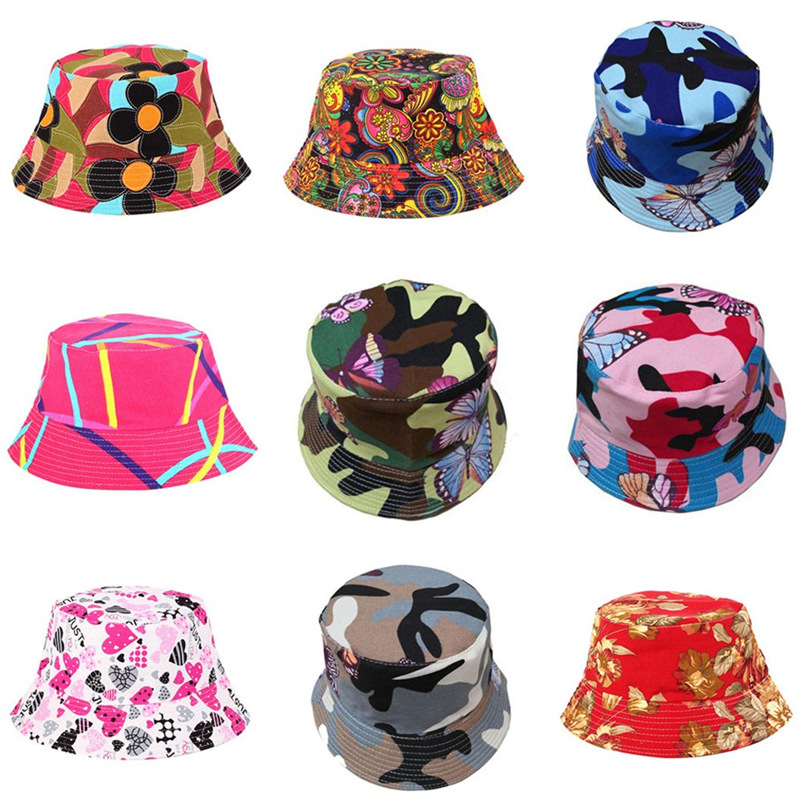 Men Women Bucket Hat Flower Print Cap 2018 Summer Hot Sale Flat Hat Fishing Boonie Bush Cap Outdoor Sunhat Wholesale #FM11 (9)