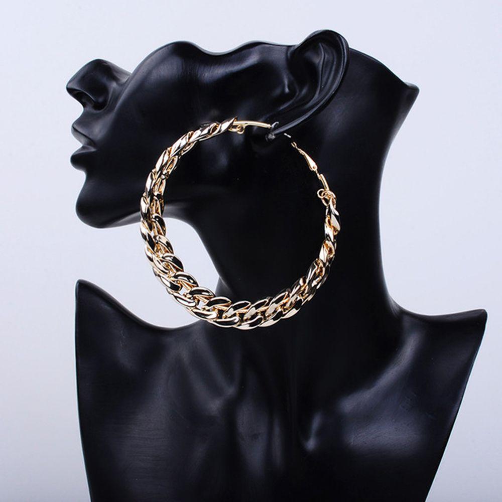 Hoop Earrings Big Circle Earrings Basketball Brincos Party Loop CCB Earrings for Women UV Jewelry 80MM