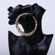 Boucles d'oreilles en forme de grand cercle pour femme, bijou avec chaîne et câble CCB, boucle de fête, basket-ball, UV, vert, 80MM