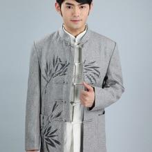 Shanghai historia 2019 chino tradicional chaqueta tang traje de ropa  mandarín collar de tela de lana chino con chaqueta de color. e8d44699c65