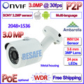 3.2MP IMX123 Sensor 3.0MP 2MP ONVIF ip cam Ambarella 1080 P poe vigilancia ip cámara exterior P2P 30 unids LED 3MP HD Lente + soporte