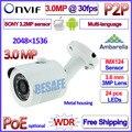 Sensor de 3.2MP IMX123 3.0MP 2MP ip cam Ambarella 1080 P poe ONVIF ao ar livre câmera ip P2P vigilância 30 pcs LEVOU Lente de 3MP HD + suporte