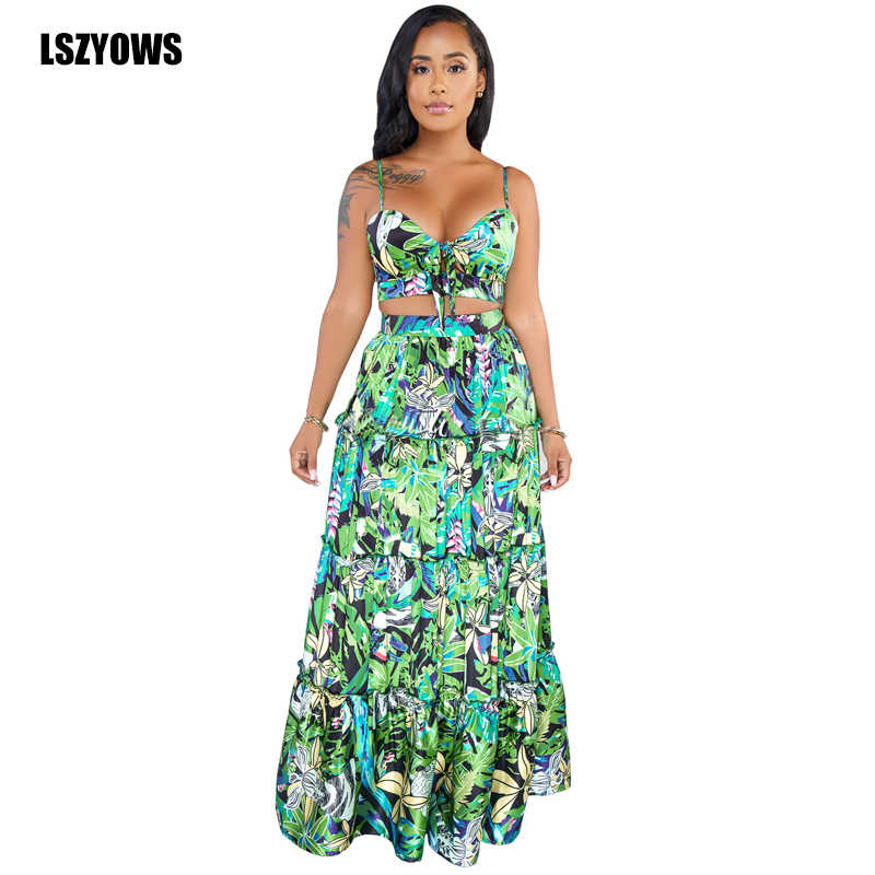 4b515dd0a2a1a LSZYOWS 2 Piece Set Women Floral Print Boho Beach Party Outfits Sexy ...