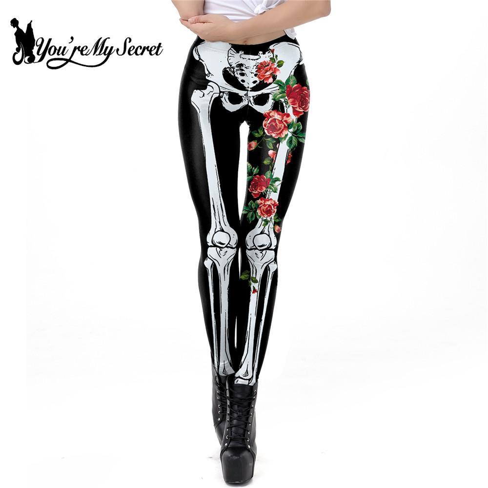 [You're My Secret] Classic Skeleton Rose Leggings For Women 3D Printing Legging Fashion Halloween Workout Pants Fitness Leggins