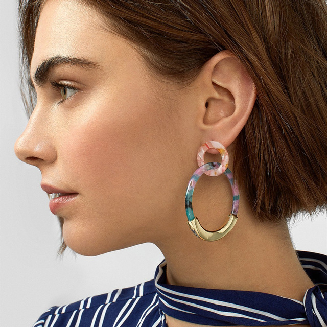 Leopard Acrylic Dangle Earring for Women Gold Alloy Round Geometry Resin Statement Hanging