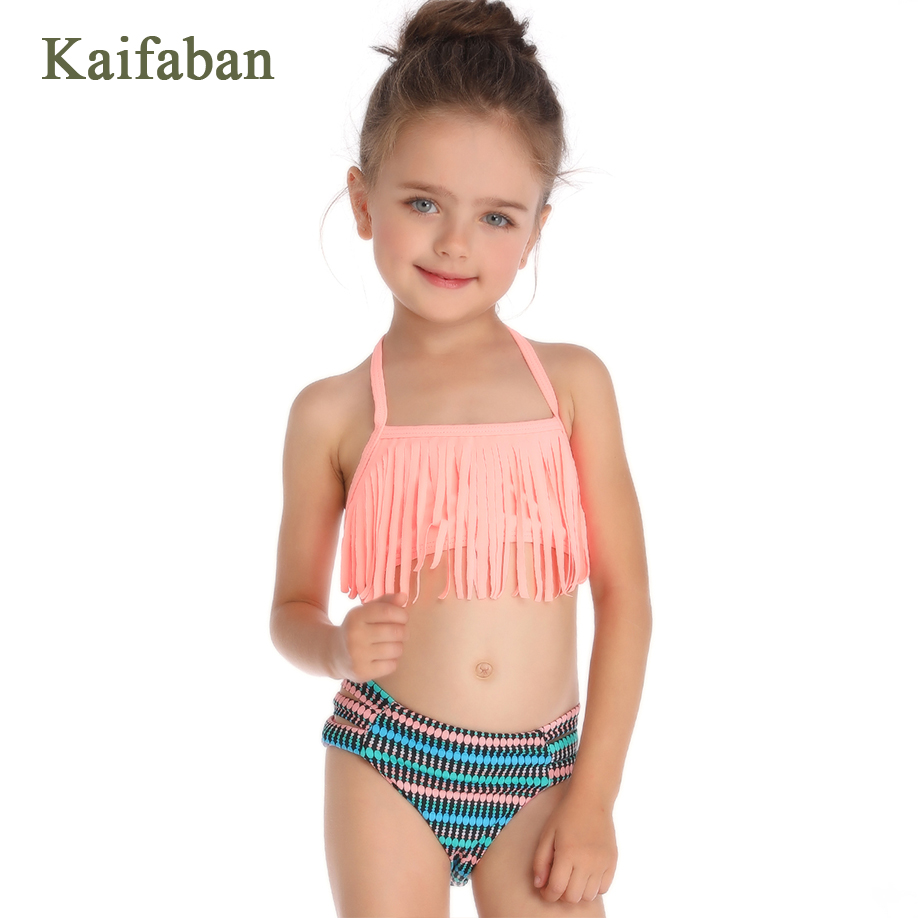 Girls Geometric Print Tassel Bandage Split Bikini Swimsuit Swimwear 2019 Kawaii Strap Hollow Plavky Maillot Tankini Bathing Suit(China)
