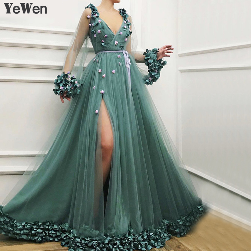 Dubai Long Sleeves Green Sexy Evening Dresses 2019 Handmade Flowers V-Neck Tulle Evening Dresses Design Women Formal Gown