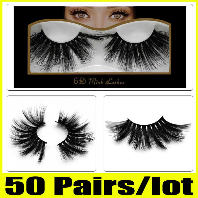 c556e4b4340 50 Pairs 25mm Lashes Wholesale 25 mm False Eyelashes Thick Strip 25mm 3D  Mink Lashes Makeup Dramatic Long Mink Lashes 6d-06