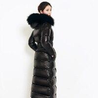 Russland Winter Frauen Mantel Winddicht Wasserdichte Lange Outwear Parkas Echtpelz Kragen Weiße Ente Unten Dicke Warme Weibliche Mantel