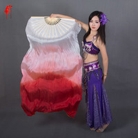 Wholesale Dyed 100 Pure Natural Silk Fan Veils For Belly Dance 180cm Long Silk Fan For
