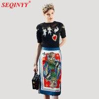 הנשי אלגנטי בציר להגדיר 2018 אביב לבן זווית לב שרוול קצר באורך הברך הדפסת אקארד רקמת סוודר + רב חצאית