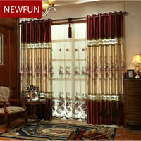New Luxury Curtains for Windows Drapes European Modern elegant noble embroidered shade curtain for living room bedroom