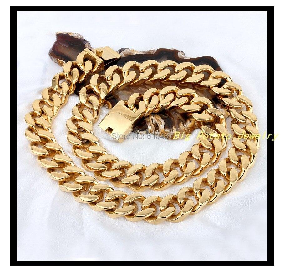 28.3 (72 см) * 21 мм 440 г модные огромный и тяжелый 316L Нержавеющаясталь покрытие золото руководство звено цепи Для мужчин и мальчика Ожерелья для...