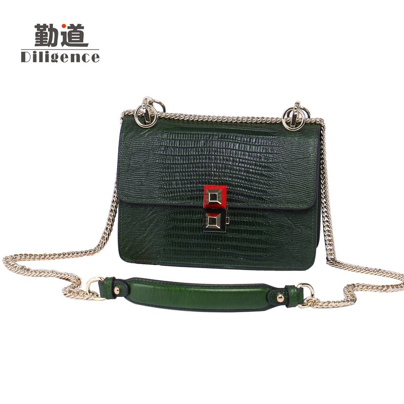 Chains Genuine Leather Shoulder Bags Vintage For Women Famous Luxury Brands Designer Style Crossbody Messenger Bag chains genuine leather shoulder bags vintage for women famous luxury brands designer style crossbody messenger bag