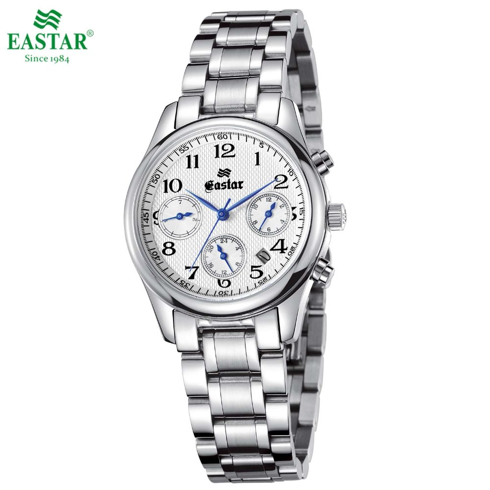 Lovers Or Couple's Elegant Watch Calendar Timing Stainless Steel Quartz Watch Fold-over Locking Clasp Waterproof