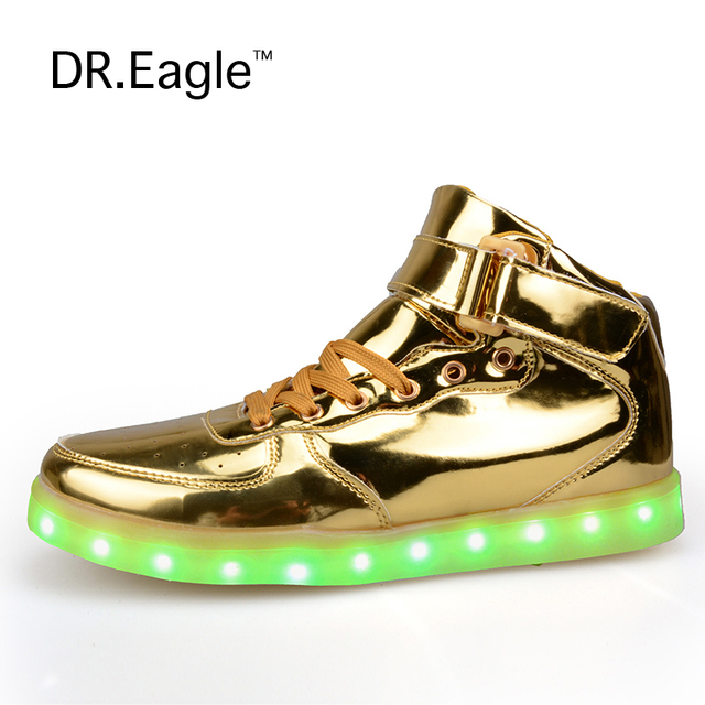 cab9867b54c6 Eagle Men Women High Top USB Charging LED Light Lovers Shoes Flashing  Casual Light Up Shoes Gold Silver Red Plus Size 35-46