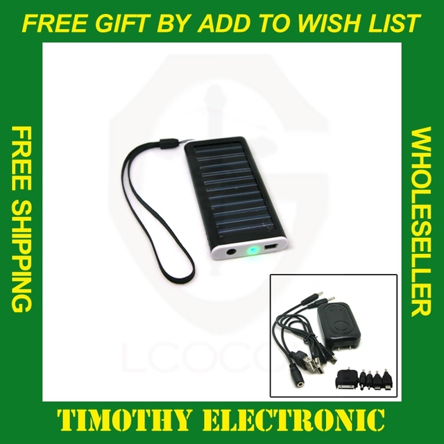 HOT SALE Free shipping Solar USB AC Power Portable Charger for Cell Mobile Phone MP3 Camera 1PC #SJ001
