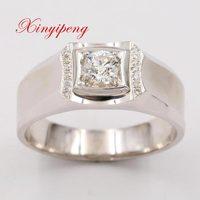 Xin yi peng 18 k white gold inlaid 0.38 carat natural diamond ring, men ring, fashion, wedding gifts