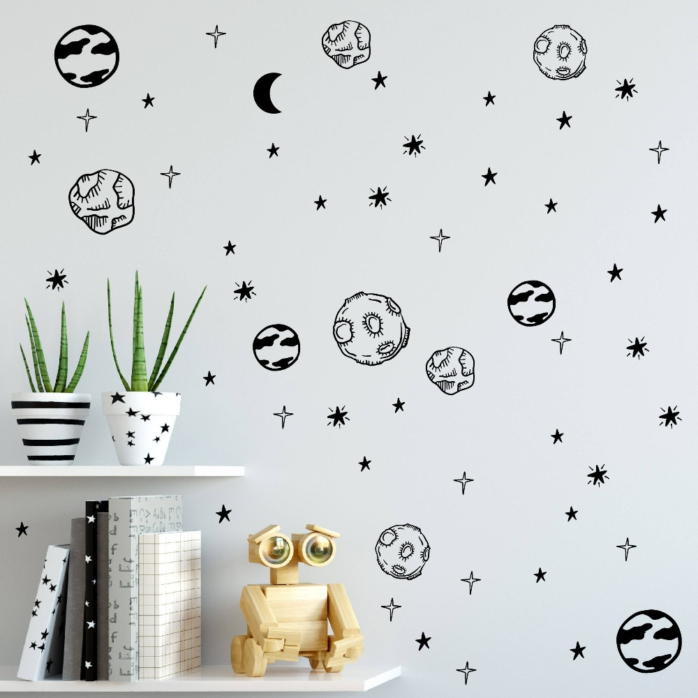 Buy planet wall decals solar system for Outer space childrens decor